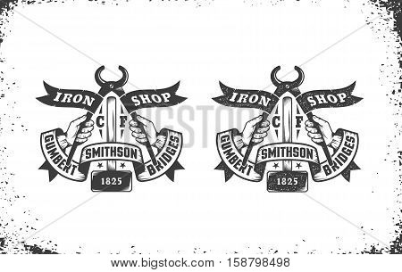 Blacksmith workshop retro emblem with a hammer pliers and ribbons. Vector illustration layered - easy to edit.