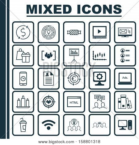 Set Of 25 Universal Editable Icons. Can Be Used For Web, Mobile And App Design. Includes Icons Such As Money Trasnfer, Video Player, Presentation And More.