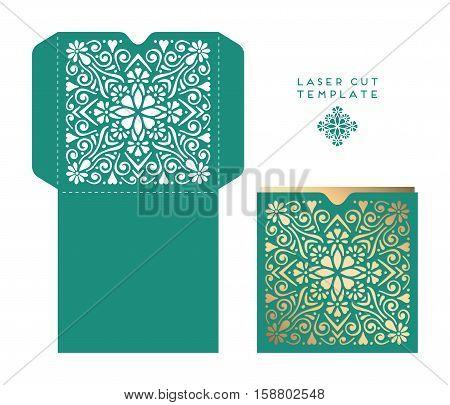 Vector wedding card laser cut template. Vintage decorative elements. Hand drawn background