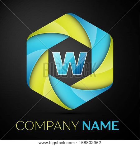 W Letter colorful logo in the hexagonal on black background. Vector template for your design
