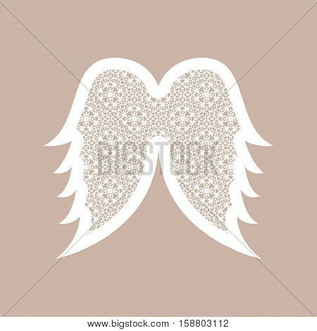 Christmas Angel Wings With Geometric Pattern. Laser Cutting Template