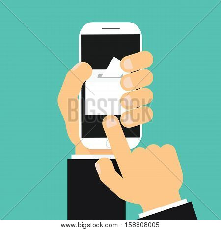 Businessman Hand Holding Smartphone With Voting App On The Screen.