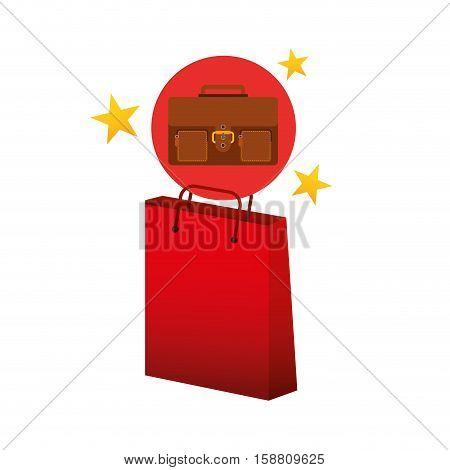 suitcase red bag gift star design vector illustration eps 10