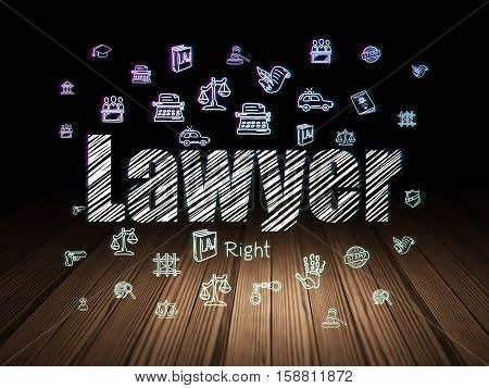Law concept: Glowing text Lawyer,  Hand Drawn Law Icons in grunge dark room with Wooden Floor, black background