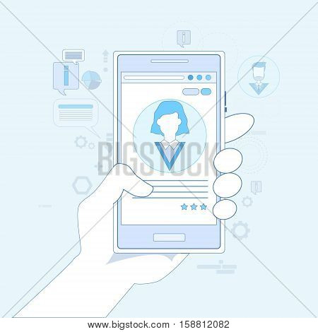 Hand Hold Cell Smart Phone Online Chat Network Communication Vector Illustration