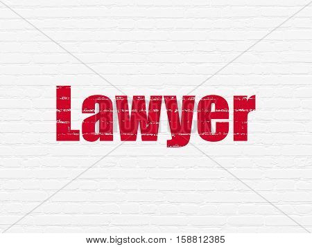 Law concept: Painted red text Lawyer on White Brick wall background
