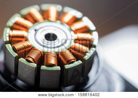 Close up of electric motor armature lying on the table