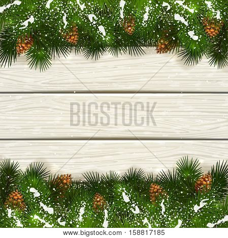 Winter decorations, Christmas theme with pinecone, decorative spruce branches with pine cones and snow on a white wooden background, illustration.