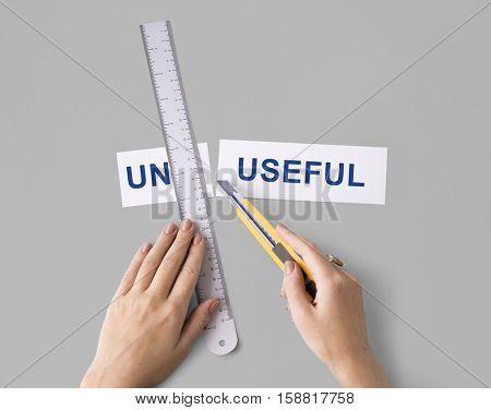 Un-useful Unhelpful Hands Cut Word Split Concept