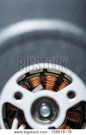 Round detail. Top view of detailed drone motor armature.