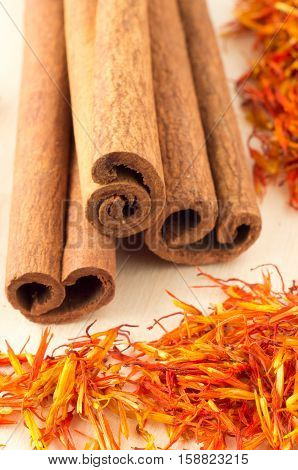 Macro View Of The Sticks Of Cinnamon And Saffron
