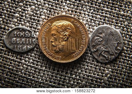 evolution of the Russian coins of imperial House of Romanovs - from wire silver before stamping gold