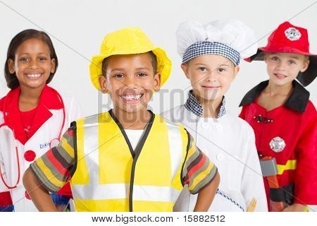 group of happy little workers in various uniforms