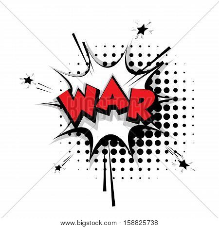 Lettering war. Comic text sound effects pop art style vector Sound bubble speech phrase cartoon text cartoon balloon expression sounds illustration. Comic text background template. Comics book balloon