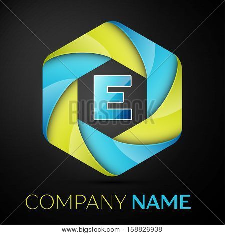 E Letter colorful logo in the hexagonal on black background. Vector template for your design