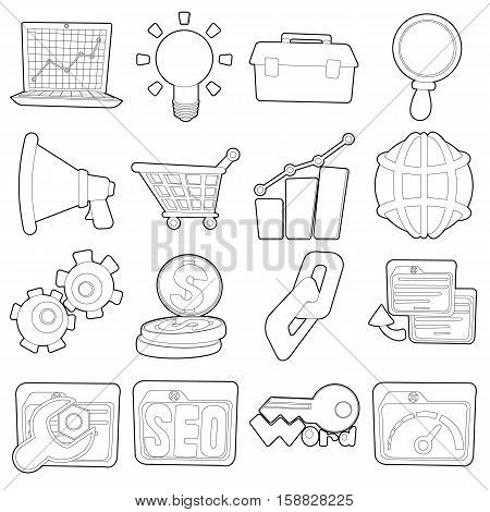 SEO icons set. Outline cartoon illustration of 16 SEO vector icons for web