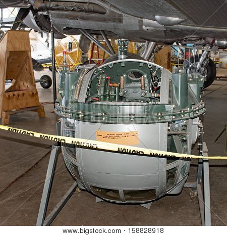 DAYTON, OHIO, USA-NOVEMBER 18, 2016: National Museum USAF is restoring the famous original WWII Memphis Belle B-17F Flying Fortress bomber, shown here the Sperry lower ball turret.