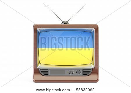 old tv with flag of Ukraine. Ukrainian Television concept 3D rendering