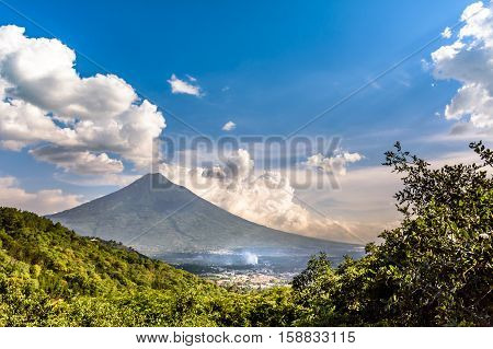 View of Agua volcano outside Spanish colonial town & UNESCO World Heritage Site of Antigua in Panchoy Valley, Guatemala, Central America.