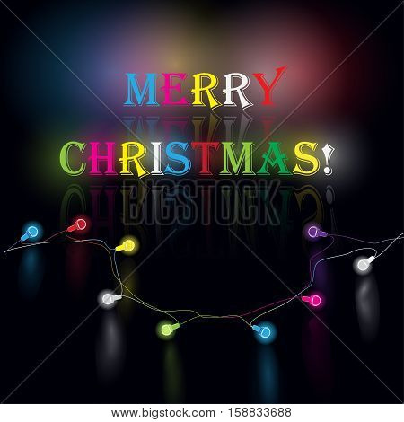Glowing garland  for Xmas Holiday greeting card design. Christmas decoration realistic luminous lights.