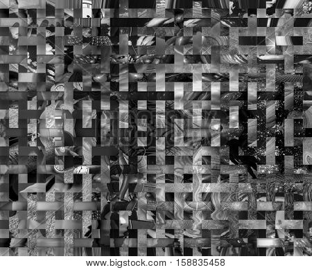 Abstract Painting. Mosaic squares.   3D Render