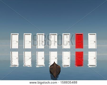 One red door among seven floating doors.   3D Render