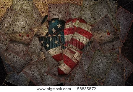 Heart with stars and stripes, pinned wings.   3D Render