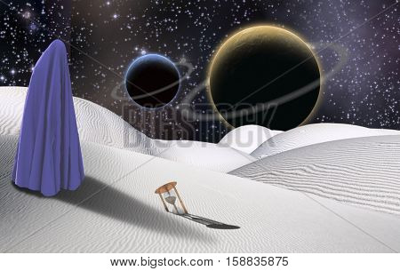 Surreal desert with hourglass. Figure of human in clothes similar to hijab. Two planets in a starry sky.   3D Render  Some elements provided courtesy of NASA