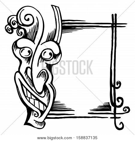 Vector sketch stylized demon head. His face and frame isolated on white background.