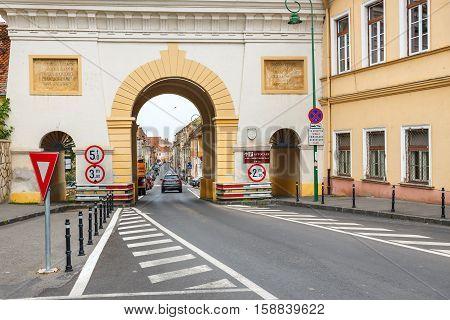 Brasov, Romania - 15 July, 2014: The Famous Gate In Brasov, Main Touristic City Of Transylvania, Rom