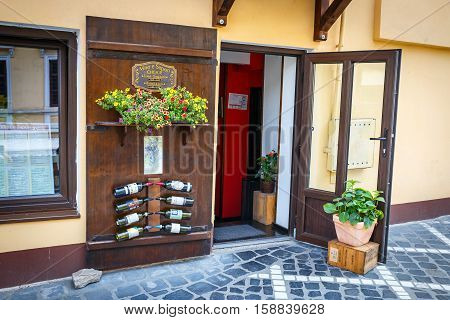 Brasov, Romania - 15 July, 2014: Winery, Shop With Romanian Wines In The Medieval City Of Brasov, Ma