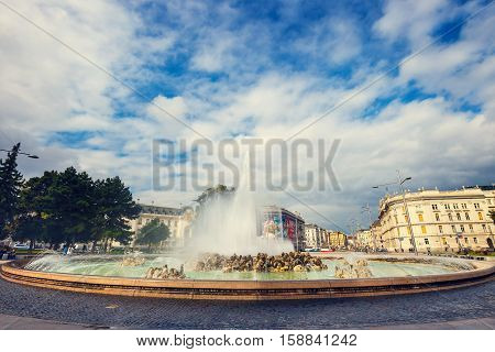 Vienna, Austria, October 13, 2016: World War Fountain  On Schwarzenbergplatz In Vienna. Austria