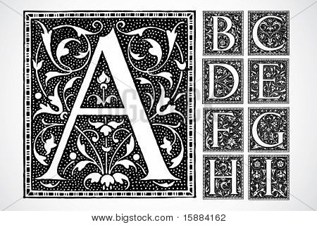 Vector Decorative Alphabet - a-i