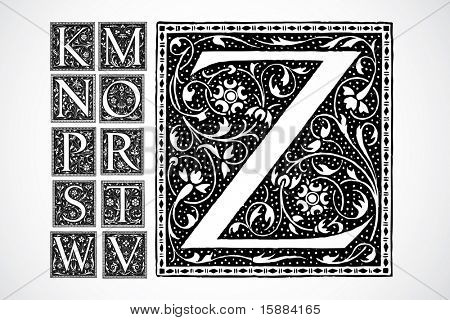 Vector Decorative Alphabet - k-z