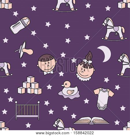 Child and baby cute seamless pattern. Kindergarten vector illustration. Good night for baby.