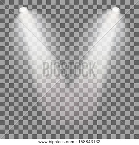Set of stage illuminated spotlight. Scene illumination on transparent background. Cold light effect. Vector illustration.