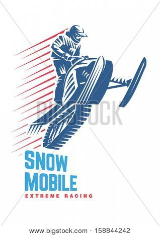 Extreme winter sport. Snowmobile. Sport emblem