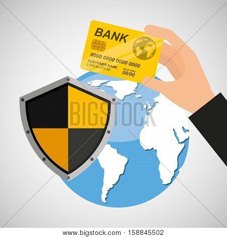 card banking safe shield protection vector illustration eps 10