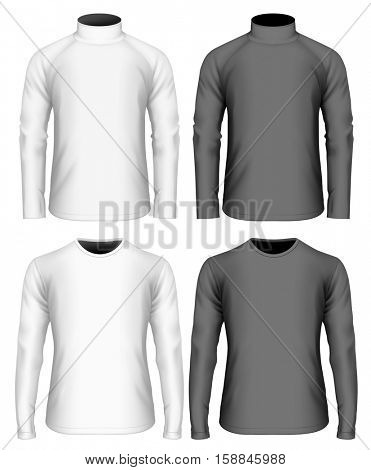 Men's long sleeve black and white t-shirt and sweater(front view). Vector illustration. Fully editable handmade mesh.