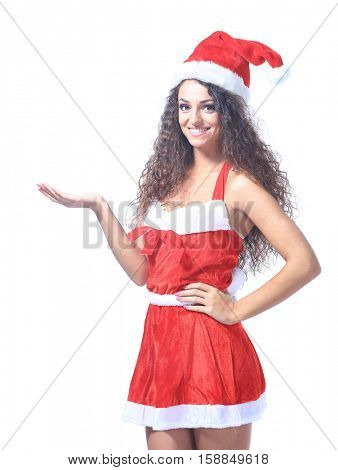 Young christmas woman show white background