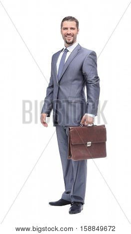 Successful businesman on white background