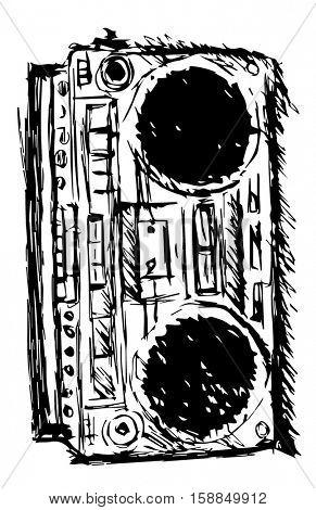 ghetto blaster sketch