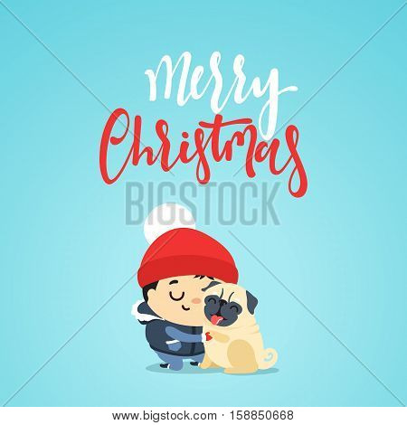 Child playing with a dog for Christmas. Boy with pet. Little boy playing having fun in the winter with a dog