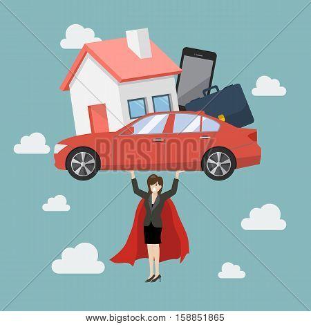 Business woman superhero carrying debt burden. Business concept