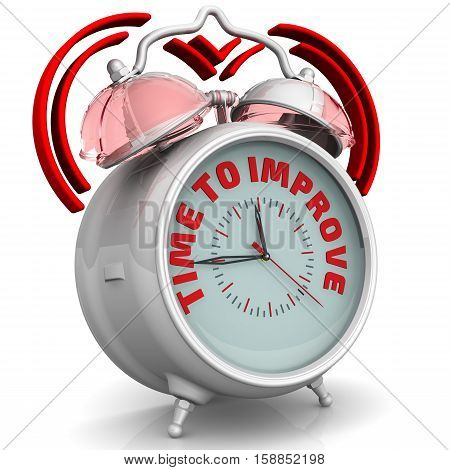 Time to improve. The alarm clock with an inscription. Alarm clock with the words
