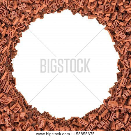 3d rendering of round frame of bricks on white background. Photo frame. Building material. Industry-specific background.