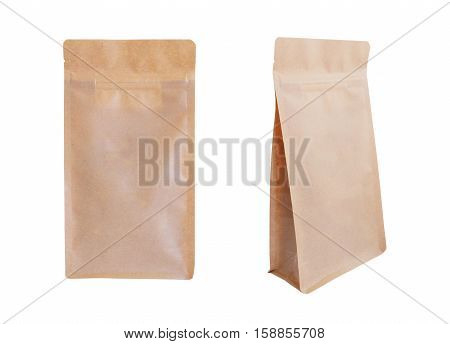 Brown paper zipper bags isolated on white background. Food packaging.
