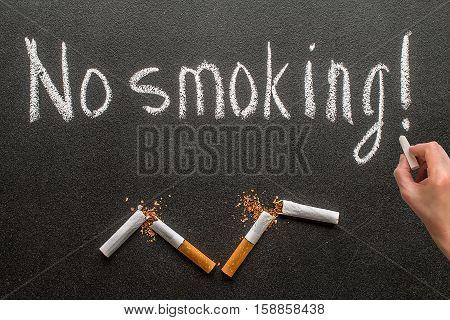 drawing is no smoking on blackboard, stop smoking symbol