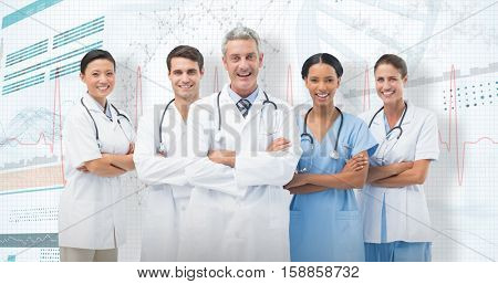 Portrait of smiling medical team standing arms crossed against 3D genes diagram on white background
