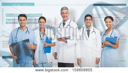 Portrait of confident medical team against 3D genes diagram on white background